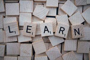 learn in scrabble letters