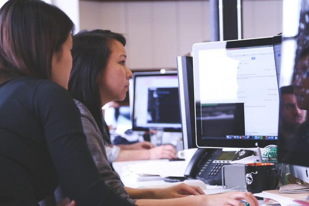 Two women undergoing software training